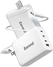 USB C 充电器,Earond 120W 4 端口 C 型充电器,带 GaN Tech iPhone 12 充电器,带 100W USB C 线,壁式充电器适用于 MacBook Pro/Air,iPad Pro,iP