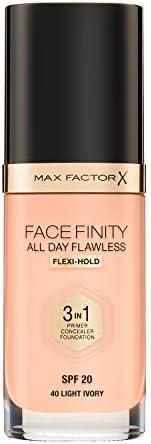Max Factor Facefinity 全天候无瑕3合1粉底SPF 20,40号浅象牙色