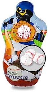J&A's 充气 Dudes Ninja 棒球投掷靶袋 5 英尺   包括 3 个棒球   底座已经填充沙子   儿童拳击袋   充气玩具游戏 - 防风!