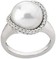Majorica 女士 Rosa 12mm 白色平珍珠 w/CZ 戒指纯银