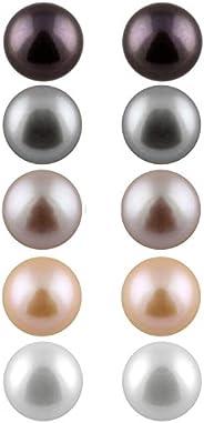 盒装一套 5 对 7.5-8mm 养殖淡水珍珠耳钉套装 925 纯银