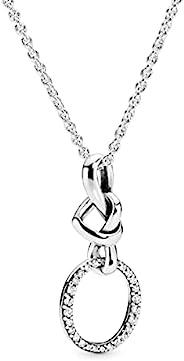 潘多拉结心形 925 纯银项链,尺寸:60cm,23.6英寸 - 398078CZ-60
