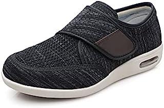 Yibobay 男士*鞋宽 X 宽魔术贴鞋适合老年人男士宽鞋男式步行鞋可调节封口
