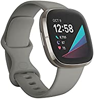 Fitbit Sense 高级智能手表,带工具,用于心脏*,压力管理和皮肤温度趋势,鼠尾草灰色/银色,均码(含长表带)