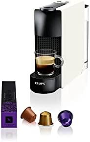 Krups 克鲁伯 Nespresso Essenza 迷你胶囊咖啡机 19 巴尔咖啡机,带 2 种咖啡程序,超紧凑的尺寸和自动关闭功能 1450 W 0.6 升 白色