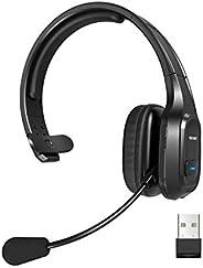 TECKNET 蓝牙卡车司机耳机,带麦克风降噪无线耳机,免提电话耳机,适用于手机、电脑、办公室、家庭呼叫中心 Skype (黑色)
