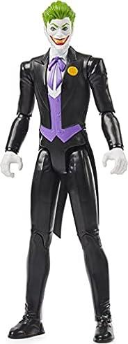 DC 漫画蝙蝠侠 12 英寸小丑动作公仔(黑色套装),适合 3 岁及以上儿童的儿童玩具