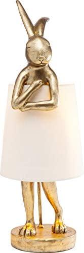Kare Design 台灯 Animal Rabbit,金色,漂亮的兔子造型台灯,白色灯罩,高贵台灯,(高/宽/深)68x23x23 厘米