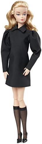 Barbie 时装模特系列 穿黑色时装的娃娃,纤细身材,穿着黑色连衣裙,戴着配饰,带有真品证明书,约12英寸/约30.48厘米