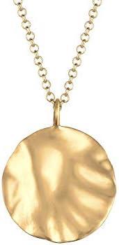 Elli 女式 925 纯银哑光圆弧波浪地理波浪形博客项链