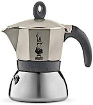 Bialetti 4823 Moka Induction 意式咖啡煮壶 法压壶,不锈钢,3杯容量,浅金(香槟色)