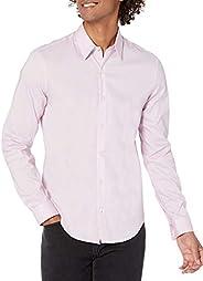 Calvin Klein 男式正装衬衫 Xtreme 修身防污弹力纯色