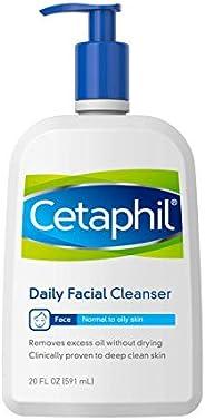 Cetaphil 丝塔芙 洗面奶,适合油性敏感肌肤的日常洁面乳,20 液体盎司,591毫升,温和发泡深层清洁不脱妆的皮肤