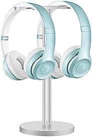 耳机支架双平衡,铝制双耳机支架带实心重型底座,与大多数耳机兼容(银色)