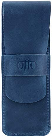 Otto Angelino 真皮钢笔和铅笔盒,带翻盖设计 蓝色