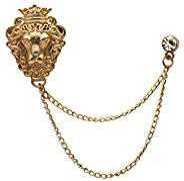 Knighthood 金黄铜狮子图案带链条翻领别针男装
