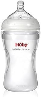 Nuby NT67018 �C Natural Touch 宽口奶瓶,硅胶材质,300毫升,附有使用硅胶制成的Soft-Flex奶嘴,适合3个月以上宝宝,M码,适用于中等饮用量