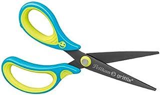 学生剪刀 Griffix 卷笔刀 适用于左撇子 荧光色 蓝色 1 件