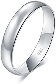 BORUO 925 纯银戒指高抛光纯色圆顶褪色舒适结婚戒指 4 毫米戒指尺寸 4-12