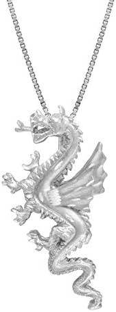 纯银龙项链吊坠带 45.72 厘米盒子链