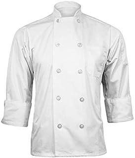 ChefsCloset 轻质府绸中性款长袖纽扣白色厨师夹克 XL 厨师外套