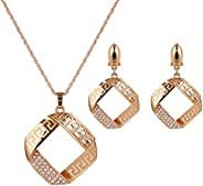 2 件金色几何珠宝套装锆石方形项链和耳环套装女士派对晚餐套装