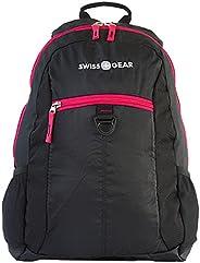 Swissgear 学生笔记本电脑背包舒适贴合 38.1cm 粉色和黑色