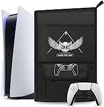 Esimen 防尘套保护套适用于 PS5 控制台/Playstation 5 数字版,PS5 控制器旅行保护套兼容 12 个游戏光盘口袋(白鹰)