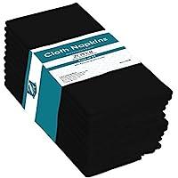 ZOYER 餐巾(黑色,12 包)-晚餐餐巾纸 45.72 厘米 x 45.72 厘米 - 涤棉桌布 - 耐用柔软餐厅餐巾-酒店优质厨房餐巾。