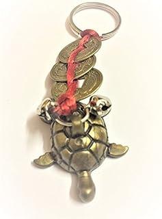 DevDeep Chrismas Special Fengshui 红色中国结 3 枚带乌龟的硬币 (KACHUA) 钥匙圈/钥匙链/流苏将 3 个天堂祝福带到您的家。