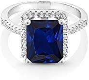 Gem Stone King 925 纯银蓝色人造蓝宝石女式订婚戒指(4.36 克拉,祖母绿切割 14X10MM,尺寸 5、6、7、8、9)