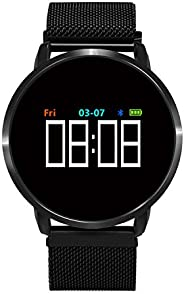 活动追踪器,Collasaro 健身追踪手表,带心率监测仪、计步器、卡路里计数器、*监测功能、智能手环兼容 Android 和 iOS 手机
