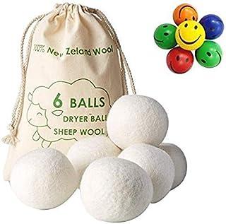 Viable Styles 新西兰羊毛织物柔软剂羊毛干燥球(XL 6 件装)- 防*婴儿*无香*洗衣球