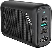 Powered Hub USB C,4K 60Hz Displayport 笔记本电脑底座,Windows 和 MacBook Pro Air M1,60W GaN 充电台式机 C 型扩展坞 USB 3.0 带交流电源线