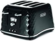 De'Longhi 德龍 Brilliante 4槽烤面包機,再加熱,除霜和6種褐變設置,可拆卸面包屑托盤,CTJ4003BK,黑色