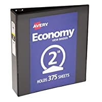 "Avery Economy View 活页夹带圆形环 2"" Capacity 2英寸 黑色"