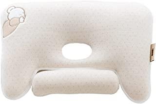 iNUO 婴儿睡枕 I 婴儿头部塑形枕头 I *棉3D透气网眼 I 平头婴儿枕头 I 3 档高度可调颈托垫(A-Wheat *泰迪熊)