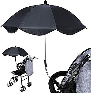 Baby Strollers 雨伞,防水防紫外线婴儿车 遮阳伞 遮阳伞 遮阳伞 带夹子 婴儿车配件 适用于沙滩椅 婴儿推车(黑色)