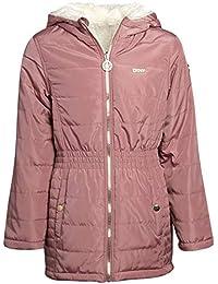 DKNY 女童连帽双面夹克 - 尼龙羽绒或羊羔绒内衬外套