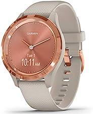 GARMIN 佳明 vívomove 时尚混合智能手表 指针式 & OLED显示屏适用于窄手腕,运动应用程序和健身/*数据,防水,5天电池续航时间 Beige/Rosego