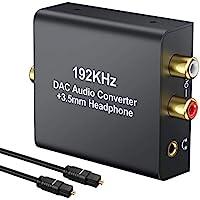 PROZOR 192KHz 数字至模拟音频转换器 DAC 数字 SPDIF 光纤至模拟 L/R RCA 转换器 Toslink 光纤至 3.5 毫米插孔适配器 适用于 PS3 高清 DVD PS4 安培 Apple TV 家庭影院
