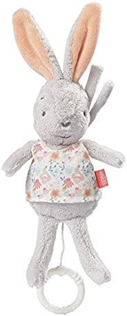 Fehn 迷你拉绳音乐玩具 – 内置播放器的毛绒玩具,演奏柔和旋律,可挂在婴儿车、婴儿座椅或床上,适合0个月以上的婴儿和幼儿。 兔子