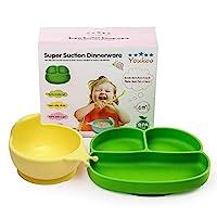 婴儿喂食餐具,幼儿吸盘碗和餐盘 Yellow &Green
