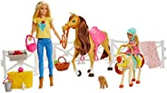 Barbie 芭比 GLL70 – 骑马乐趣玩具套装 带芭比 ( 金色 ) , 切尔西 , 马和马驹 , 玩偶玩具 3岁以上 , 包装保留偏差
