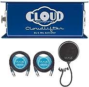 Cloud 麦克风 CL-1 Cloudlifter 1 通道麦克风激活器,适用于带有 Blucoil 的动态/丝带/管麦克风捆绑,2 包 10 英尺平衡 XLR 电缆和噗声过滤挡风玻璃
