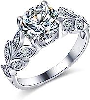 YouBella 珠宝时尚镀银单粒宝石水晶戒指适合女士和女孩