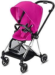 Cybex Mios 2 完整婴儿车,单手折叠,双面座椅,平滑的全轮悬架,额外存储,可调节腿托,XXL 遮阳篷,花式粉色,带镀铬/黑色框架