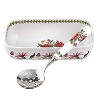 Portmeirion 608832 植物花園蔓越莓餐具和開槽勺白色