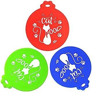 五大象猫粮,3 件多色趣味罐盖通用硅胶宠物食品罐顶盖适用于宠物猫罐粮,适合大多数标准尺寸