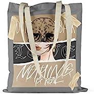 Bonamaison 印花大手提包,可重复使用的杂货袋,购物袋,可机洗,环保,可折叠,带手柄帆布布袋,34 x 40 厘米 - 土耳其设计和制造